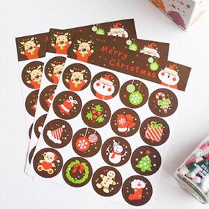 160x-joyeux-Noel-badge-autocollant-enveloppe-cadeaux-emballage-alimentaire