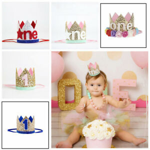Boy-Girl-1st-Birthday-Party-Glitter-Hat-Flower-Princess-Headband-Crown-Decor