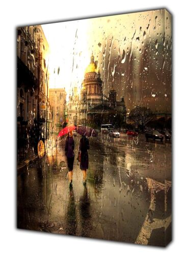 St Paul/'s Cathedral  Ladies Walking Rain drop Picture Print ON CANVAS  Wall Art