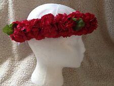 BEAUTIFUL RED CARNATION HAWAIIAN HULA FLOWER HAKU LEI HEADPIECE IMITATION