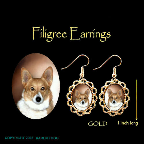 GOLD FILIGREE EARRINGS Jewelry CORGI DOG Fawn