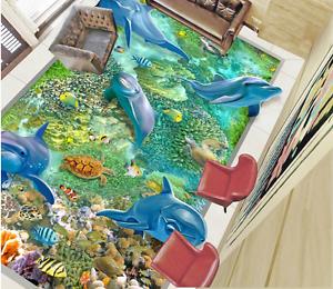 3D Happy Dolphin Fish 8 Floor Wall Paper Murals Wall Print AJ WALLPAPER UK Lemon
