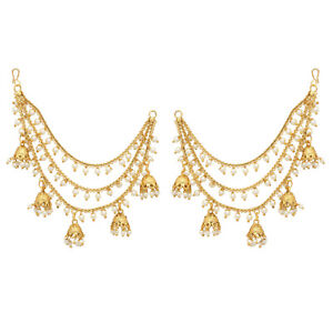ffb328ba6ab2c Details about Jwellmart Indian Bollywood Gold Plated Faux Pearl Earring  Support / Ear Chains