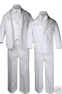 Baby & BOY Formal Tuxedo with Vest bow tie Dress Suits Sets WHITE New born - 20