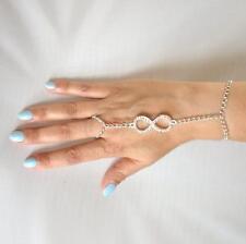 Slave Bracelet, Hand Harness, Infinity Link with Crystals, Hand Bracelet & Ring