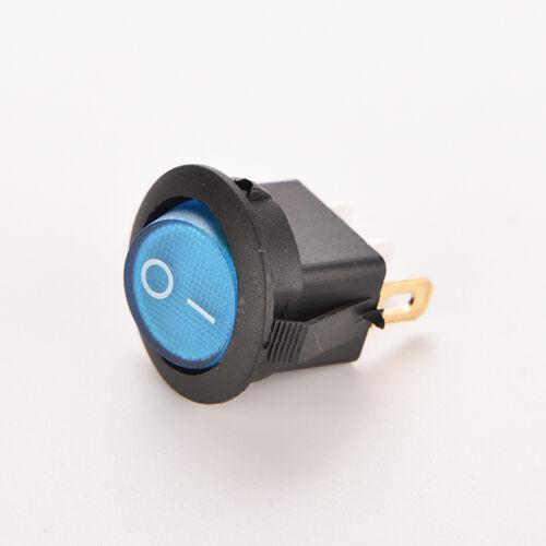 1X ON//OFF LED 12V 16A DOT ROUND ROCKER SPST TOGGLE SWITCH CAR BOAT LIGHT BLUE BS