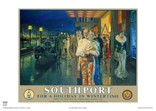 SOUTHPORT LANCASHIRE RAILWAY TRAVEL POSTER VINTAGE RETRO ADVERTISING ART