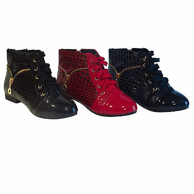 GIRLS KIDS CHILDRENS SHINY PATENT RED NAVY ZIP FLAT ANKLE BOOTS SHOES SIZE