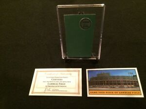 Green-Bay-Packers-GAME-USED-PIECE-of-METAL-from-Lambeau-Field-Stadium-w-Case