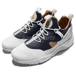 Nike Air Huarache Utility PRM Premium White Gold Navy Men Running 806979-100