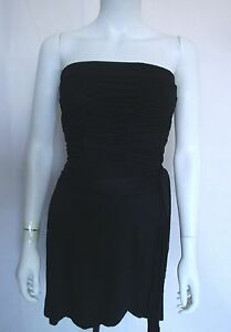 Ladies-Black-Glamorous-Tight-Rushed-Strapless-Clubbing-Evening-Dress-S-M