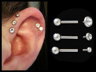 "Triple Forward Cartilage Tragus Helix CZ1//4/"" 18g Stud Earring Piercing Internal"