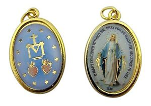 Gold-Toned-Base-Our-Lady-of-Grace-Icon-Miraculous-Medal-1-Inch