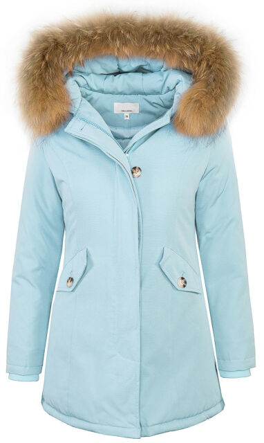 01126d726 Womens DESIGNER Outdoor Winter Jacket Parka Genuine Fur Hood D204 34 36 38  40 42 Light Blue XL