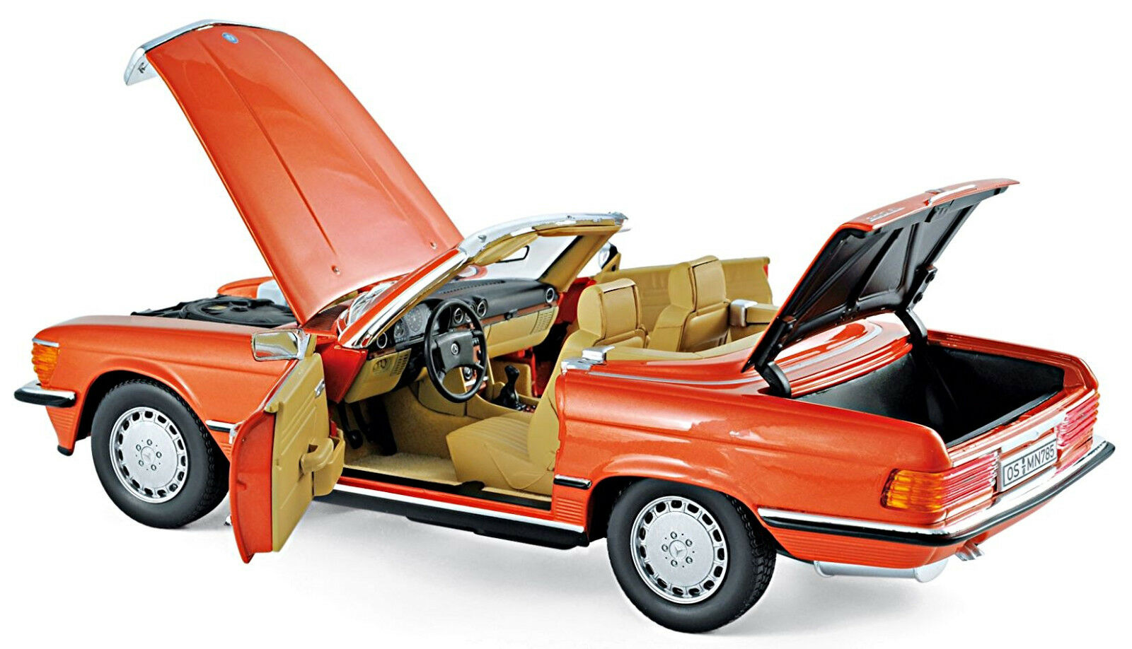 Mercedes Benz 300 SL R107 + Soft Top 1972-85 inca red red 1 18 Norev