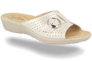 FLY-FLOT-Art-T4A52-Blanco-Zapatillas-de-Mujer-Ajustable-Hebilla-Piel-Autentica