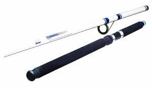 Okuma Fishing Tundra 15 Foot 3 Piece Surf Pier Spinning Rod Large White Blue