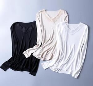 Women-039-s-100-Silk-Knit-Lace-T-Shirt-Long-Sleeve-undershirt-Classical-top-SG314