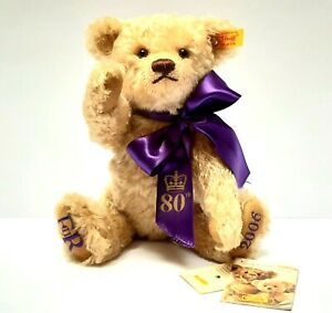 Steiff-Teddy-Bear-2006-Queen-Elisabeth-80th-birthday-golden-mohair-VINTAGE-RARE