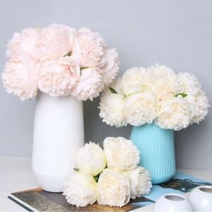 Image Is Loading 5heads Artificial Fake Peony Silk Flower Bridal Bouquet