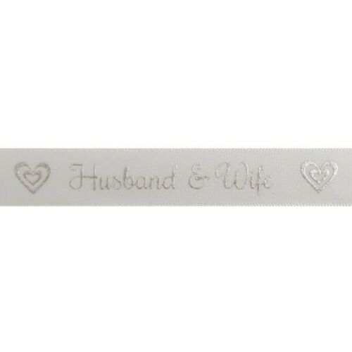 Bowtique Satin Husband /& Wife Ribbon 15mm x 5m Reel