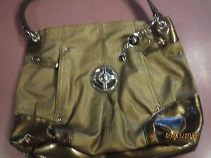 NWOT-Sienna-Ricchi-Handbag-Large-Gorgeous-Bronze-Purse-Zippers-logos-Pockets