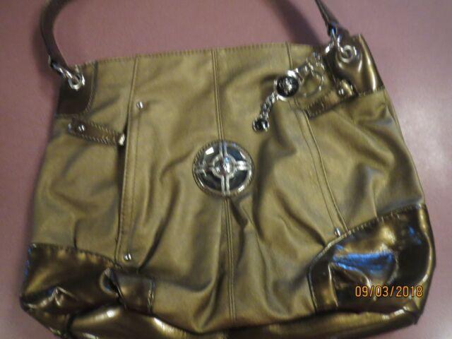 NWOT Sienna Ricchi Handbag Large Gorgeous Bronze Purse Zippers logos Pockets