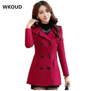 Women-039-s-Wool-Coat-Trench-Double-Breasted-Turn-down-Collar-Outerwear-Ladies