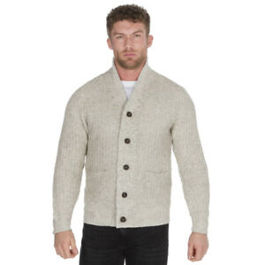 Details about Mens Knitted Cardigan with Buttons Shawl Collar Sweater Knitwear Work Sweater UK