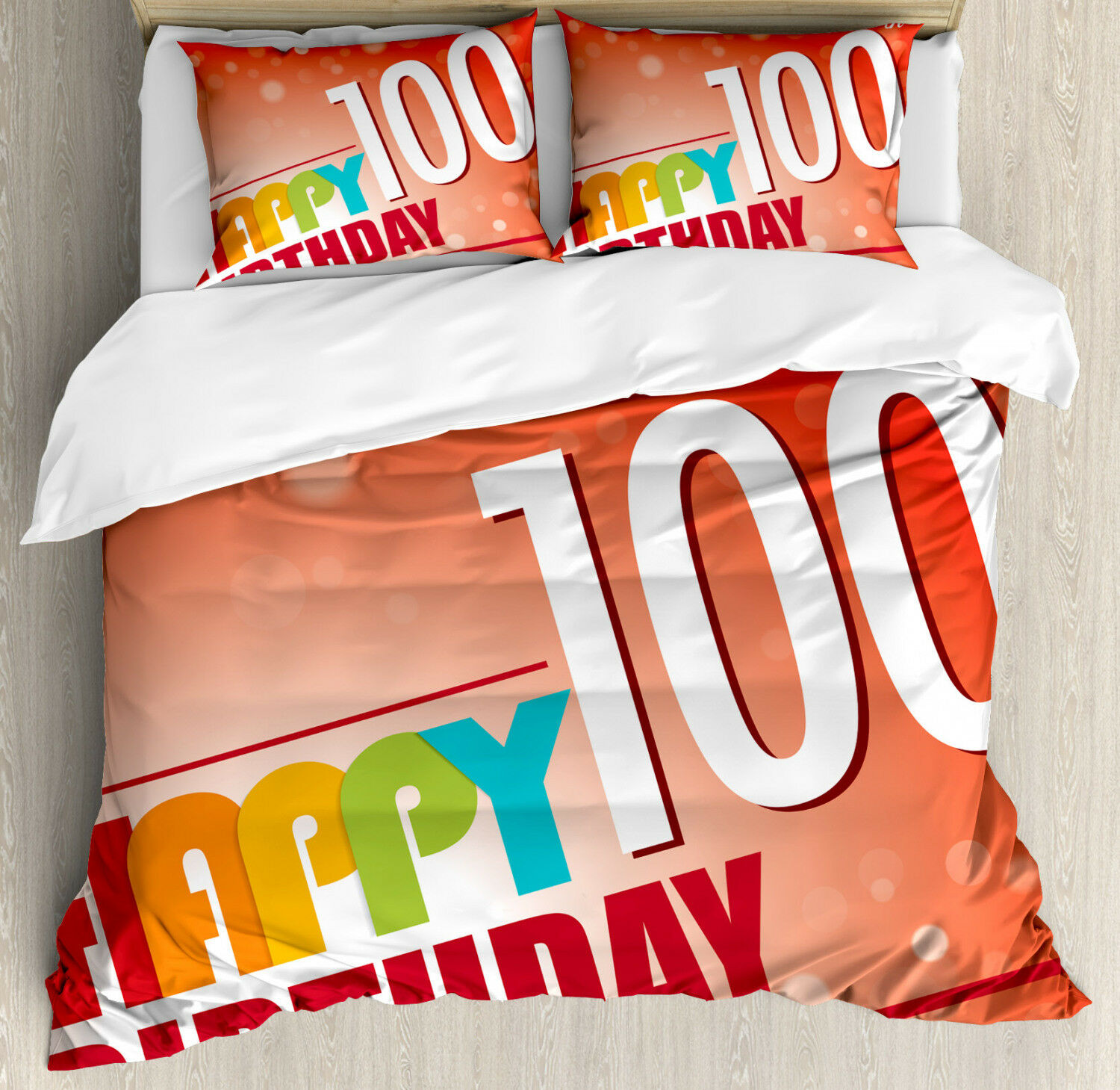 Abstract Duvet Cover Set with Pillow Shams Happy Party Quote Print