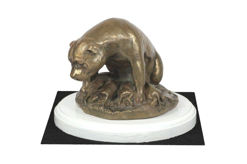 Amstaff tipo 2 - figurina con un cane su una base di legno blancoo, Art Dog IT