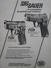 1980's PUB SIG SAUER P220 P225 PISTOLET ARMEE POLICE SUISSE ORIGINAL FRENCH AD