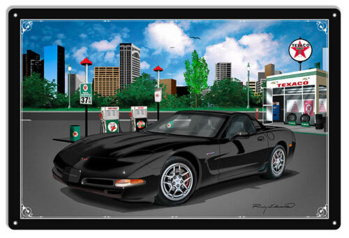 Texaco Corvette Black Car Metal Sign By Rudy Edwards   18x30