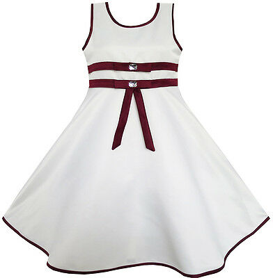 Sunny Fashion Girls Dress White Lined Elegant Wedding Flower Girl Pageant 4-12