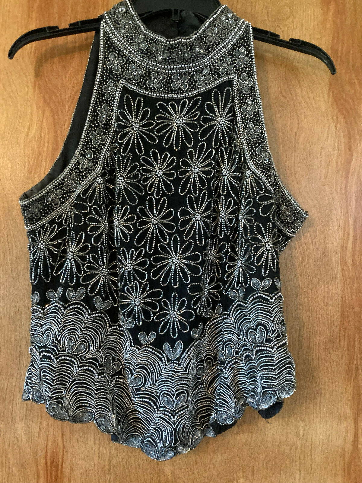 Papell Boutique Evening Sleeveless Top - Black/Silver Beaded - Silk - Large - EC