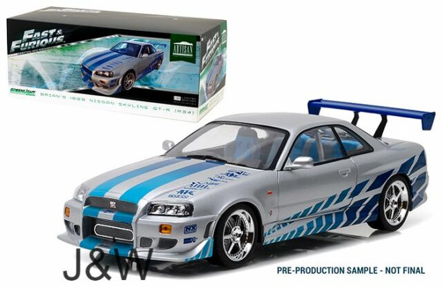 Greenlight Nissan Skyline r34 1999 Brians Fast and Furious Silber 1/18 19029