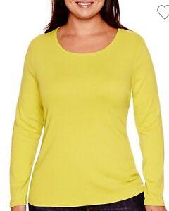 f7c6539234cfee Stylus Women s Plus Size Green Cotton Long Sleeve Crew Neck Tee Top ...