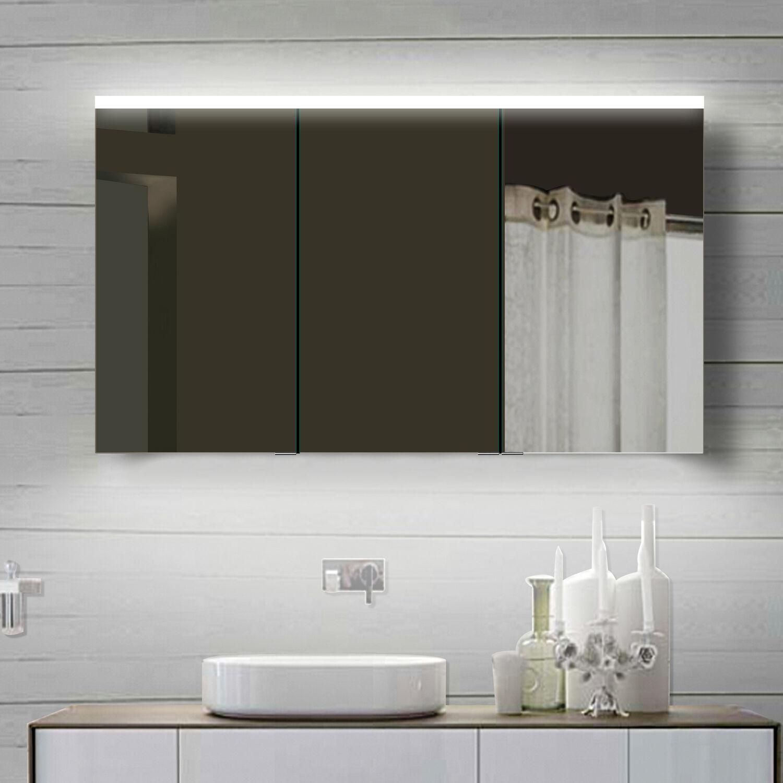 LED Alu Badezimmerscchrank Spiegelschrank Badschrank Wandschrank Badspiegel 120