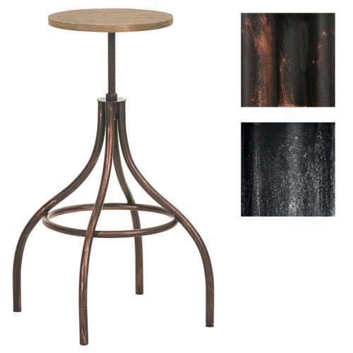 Tabouret JOS chaise fauteuil réglable métal bois industriel atelier bar comptoir