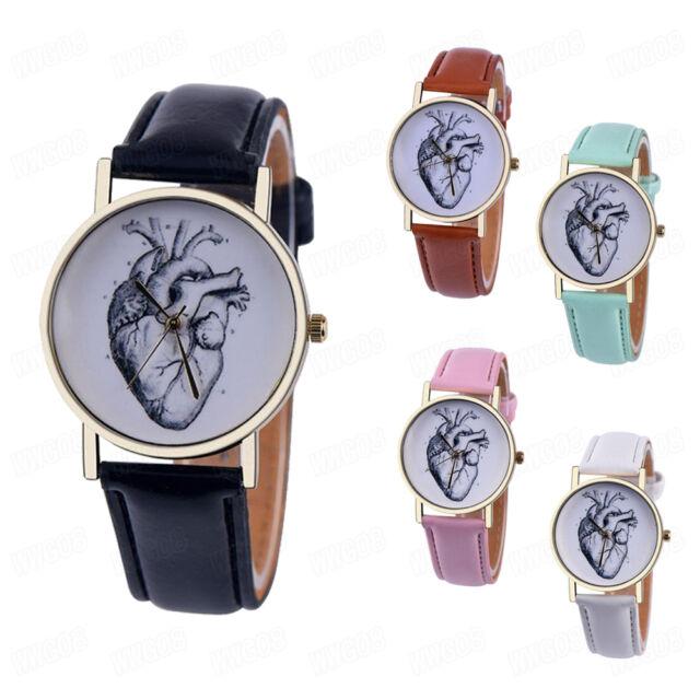 Heart pattern Womens Fashion Watch Leather Casual Analog Quartz Wrist Watches
