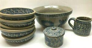 Lof-of-BEAUMONT-BROTHERS-Stoneware-Pottery-Blue-Spongeware-Bowls-Mug-Sugar