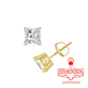 14k-Yellow-Gold-33ctw-Princess-Cut-I-I1-Solitaire-Natural-Diamond-Stud-Earrings