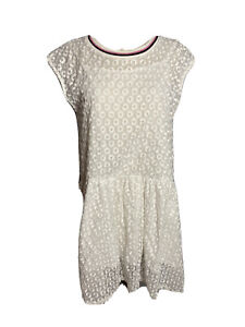 H-amp-M-Womens-Size-Med-Lace-White-Fit-And-Flare-Dress-Cap-Sleeves