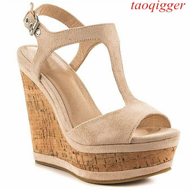US SZ 4-11.5 donna 15cm wedge high heels T-strap party scarpe sexy Suede sandals