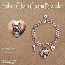YORKSHIRE TERRIER Puppy Yorkie -  CHARM BRACELET SILVER CHAIN & HEART