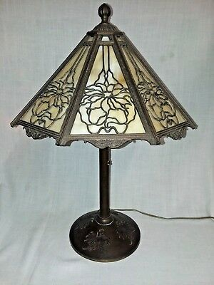 "Bradley & Hubbard Poinsettia Slag Glass Lamp # 261 H 23"" Matching Incised Base Pretty And Colorful Decorative Arts Antiques"