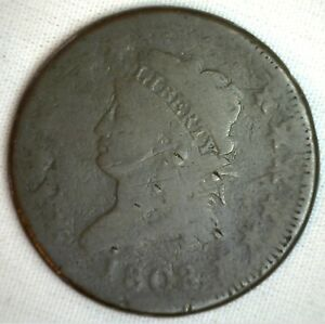1808 Classic Head Copper Large Cent Early Penny Type Coin S278 Variety GOOD 1c