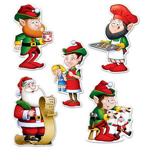 set of 10 mini santa and elves cutouts christmas party decorations 6 - Elf Christmas Party Decorations