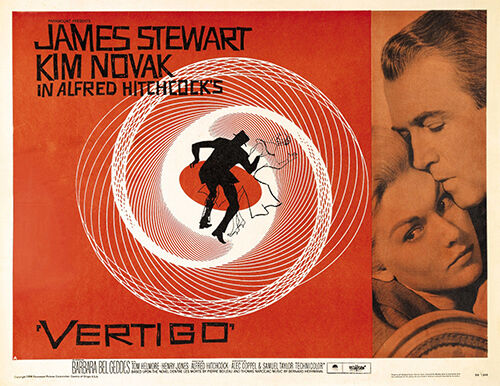"Vertigo 1958 movie poster 27/"" wide by 18/"" high EXCLUSIVE Alfred Hitchcock/'s"