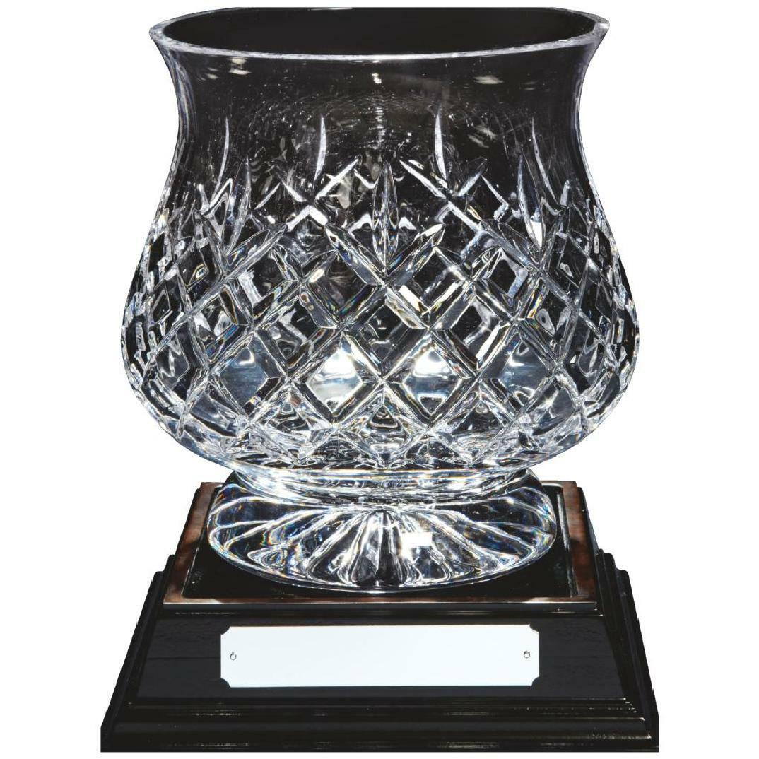 Crystal Bowl with wooden base  award ,230mm, gift,FREE Engraving (KL804)TWT